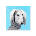 Saluki (Silver and White) Square Sticker 3