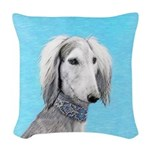 Saluki (Silver and White) Woven Throw Pillow