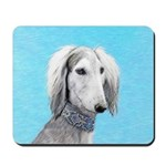 Saluki (Silver and White) Mousepad