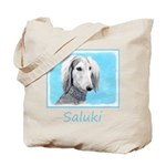 Saluki (Silver and White) Tote Bag