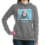 Saluki (Silver and White Women's Hooded Sweatshirt