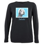Saluki (Silver and White Plus Size Long Sleeve Tee