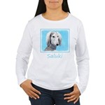 Saluki (Silver and Whi Women's Long Sleeve T-Shirt