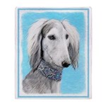 Saluki (Silver and White) Throw Blanket