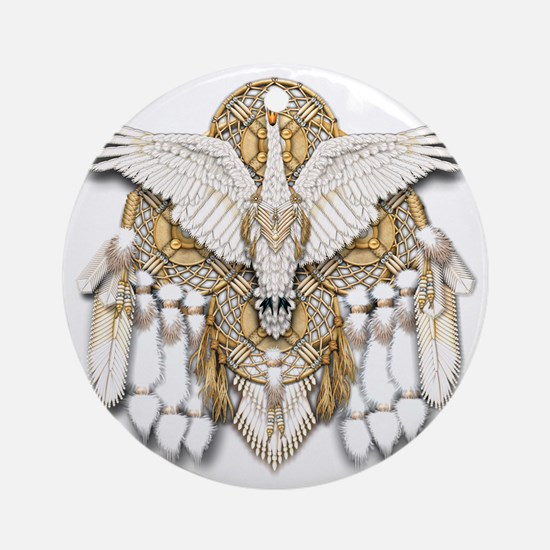 Native American Swan Mandala Round Ornament