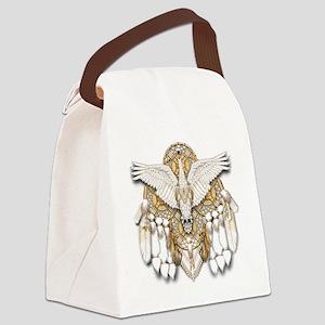 Native American Swan Mandala Canvas Lunch Bag