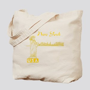 NY_10x10_Skyline_Statue_Yellow Tote Bag