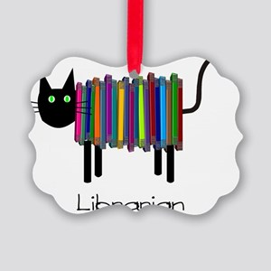 Librarian Book Cat Picture Ornament