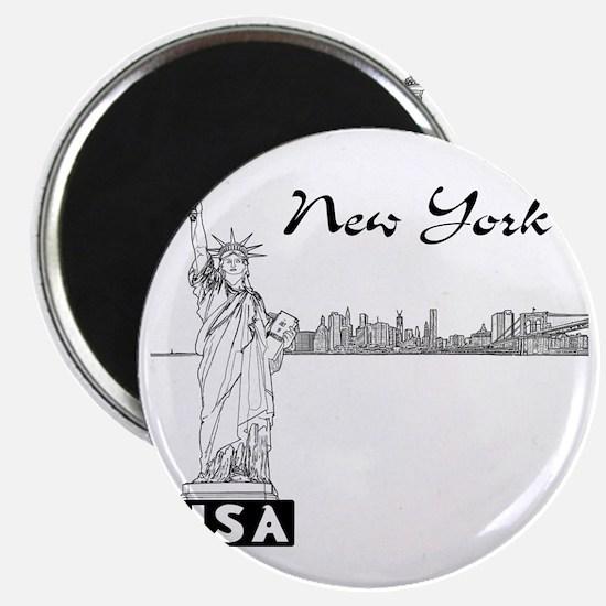 NY_12x12_Skyline_Statue_Black Magnet