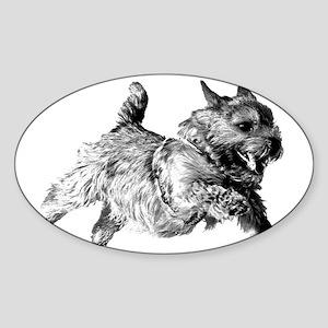 Running Norwich Terrier Male Sticker (Oval)