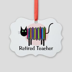 Retired Teacher Book Cat Picture Ornament