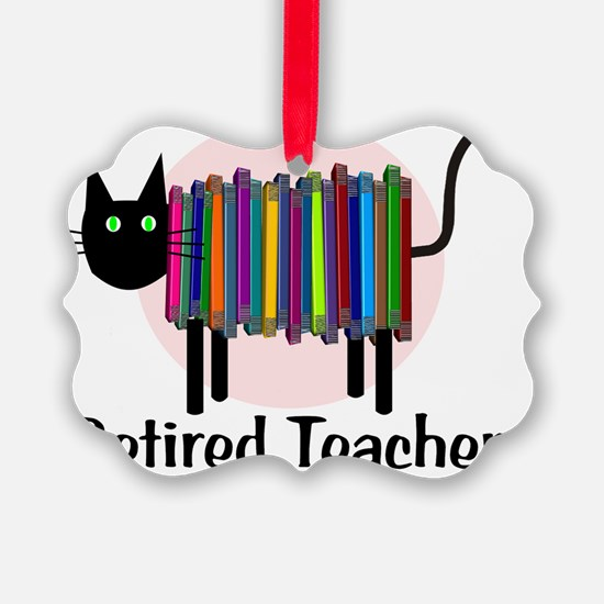 Retired Teacher Book Cat Ornament