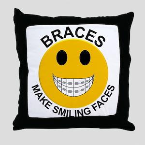 Braces Make Smiling Faces Throw Pillow