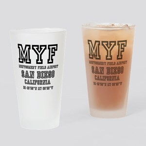 AIRPORT JETPORT  CODES - MYF - MONT Drinking Glass