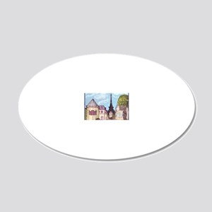 Paris Cityscape With Eiffel  20x12 Oval Wall Decal