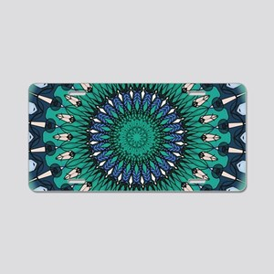 Blue and Green peacock feat Aluminum License Plate