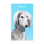 Saluki (Silver and White) Sticker (Rectangle)