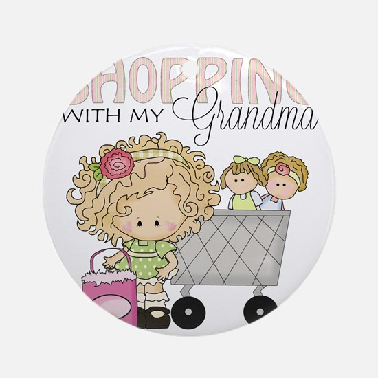 Shopping with Grandma Round Ornament