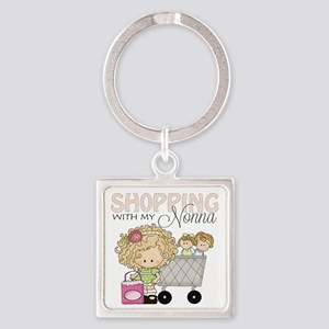 Shopping with Nonna Square Keychain