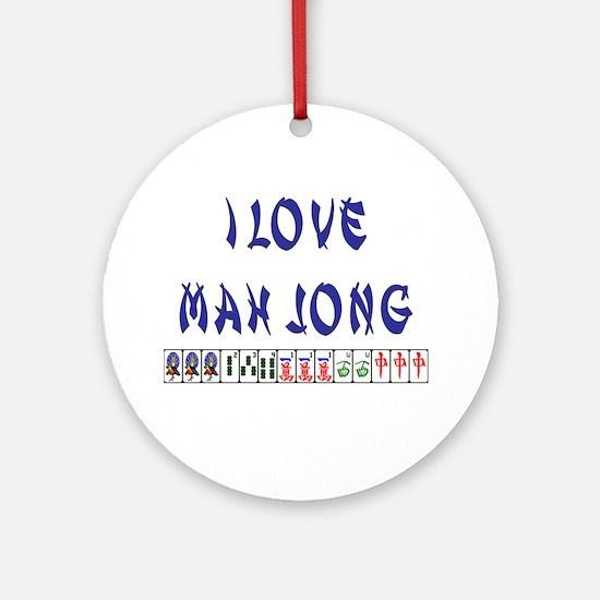 I Love Mah Jong Ornament (Round)