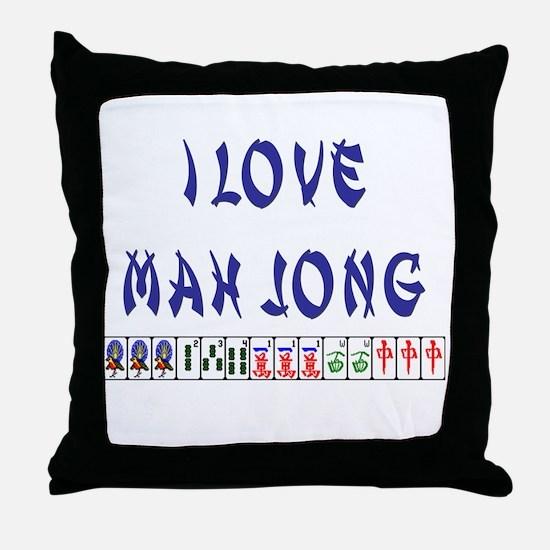 I Love Mah Jong Throw Pillow