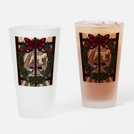 Holiday Chickadees Drinking Glass