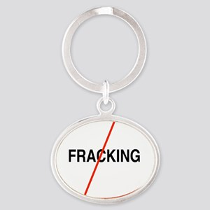 Oval No Fracking Oval Keychain