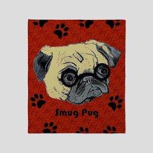 Cute Smug Pug Throw Blanket