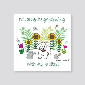 "maltese Square Sticker 3"" x 3"""