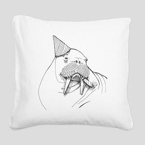 Party Walrus Square Canvas Pillow