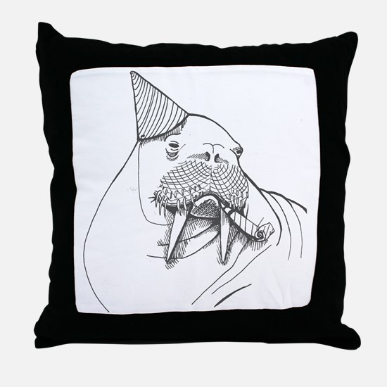 Party Walrus Throw Pillow