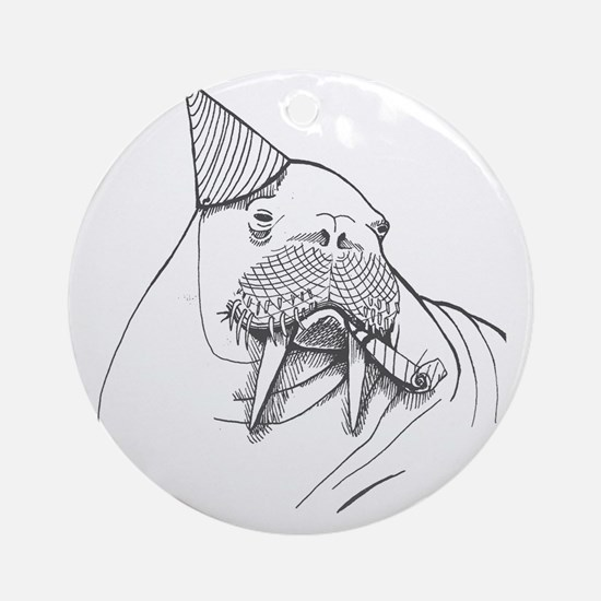 Party Walrus Round Ornament
