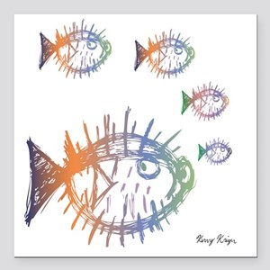 """Pufferfish Puffer Fishes Square Car Magnet 3"""" x 3"""""""