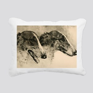 2BorzoiHeadSMServingTray Rectangular Canvas Pillow