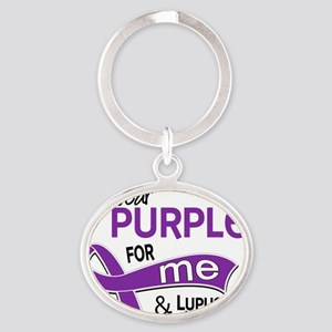 D I Wear Purple For Me 42 Lupus Oval Keychain