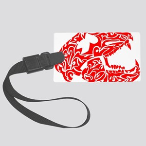 Red Bear Skull Large Luggage Tag