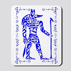 Blue and White Anubis Mousepad
