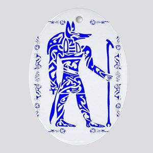 Blue and White Anubis Oval Ornament