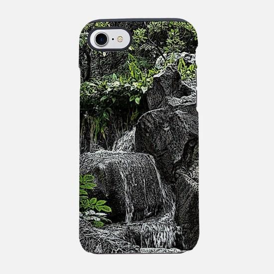 Waterfall Woodcut iPhone 7 Tough Case