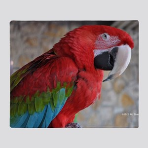 Green Wing Macaw Throw Blanket