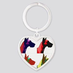 Great Dane a la Warhol Heart Keychain