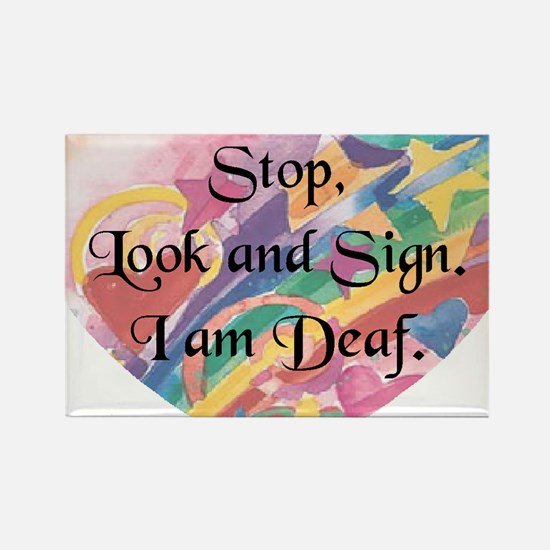 Stop, Look  Sign Heart Rectangle Magnet