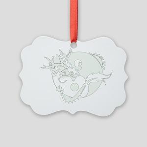 White Yin Yang Dragon Picture Ornament