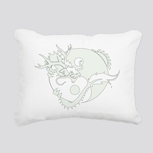 White Yin Yang Dragon Rectangular Canvas Pillow