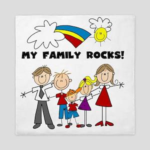 custom my family rocks Queen Duvet