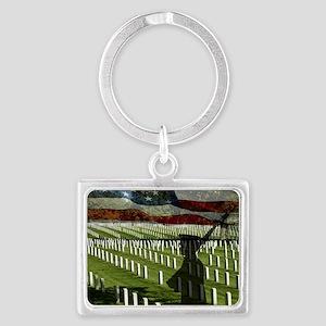 Guard at Arlington National Cem Landscape Keychain