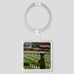 Guard at Arlington National Cemete Square Keychain