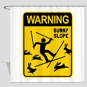WARNING: Bunny Slope Shower Curtain