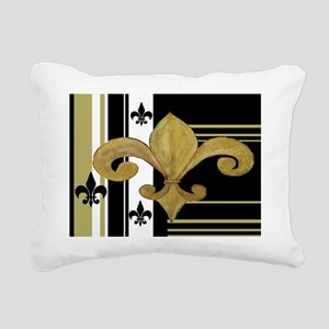Black  Gold Fleur de lis Rectangular Canvas Pillow