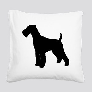 Airedale Black Silhouette Square Canvas Pillow